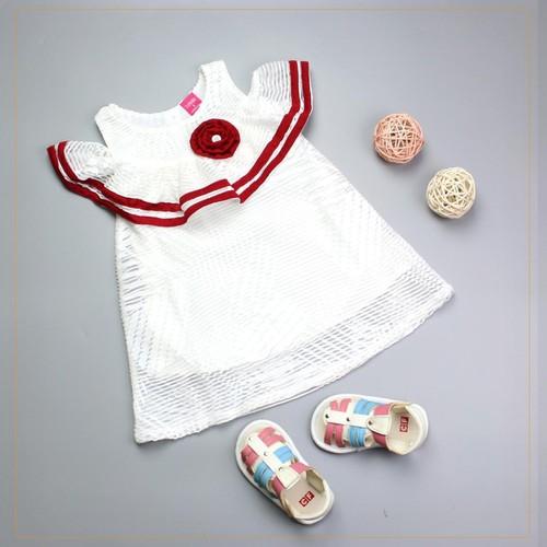 Đầm trắng tay rớt viền+ bông đỏ cho bé từ 8-28kg