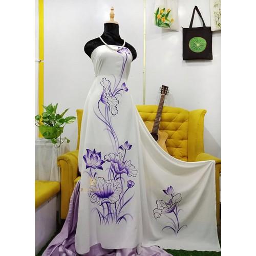 [Vải áo dài handmade]#29 vải áo dài vẽ tay đẹp - brahma
