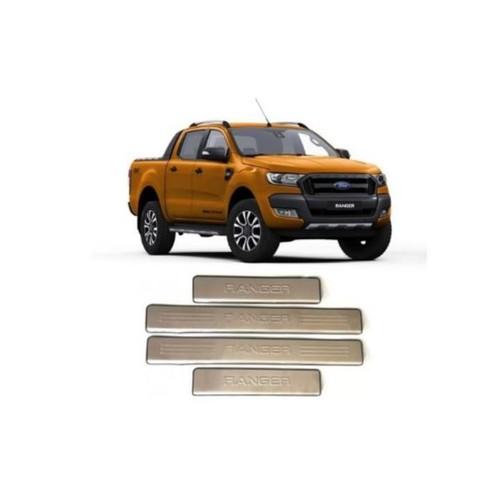 Bộ ốp bậc, nẹp bước chân ngoài inox dành cho xe ford ranger 2016-2019