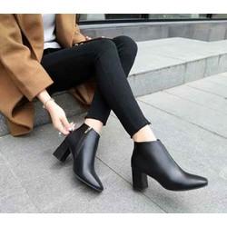 Giày boot nữ cổ thấp NANA da lì cao cấp khóa chéo