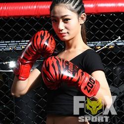 Găng Tay Boxing Cao Cấp ZooBoo Vân Cọp - Màu Đỏ - gangzooboo-do