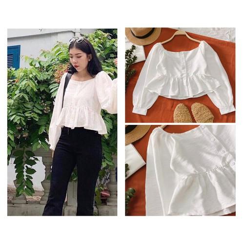 Áo crop trắng|áo kiểu xinh