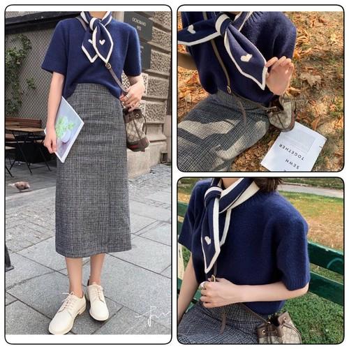 Set áo len và chân váyset áo len và chân váy dài kèm khăn