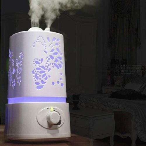 Tặng tinh dầu-máy xông tinh dầu, máy phun sương , máy khuếch tán , máy tạo độ ẩm  hồ điệp đáy tròn 2200ml- với 2 vòi phun cực manhj