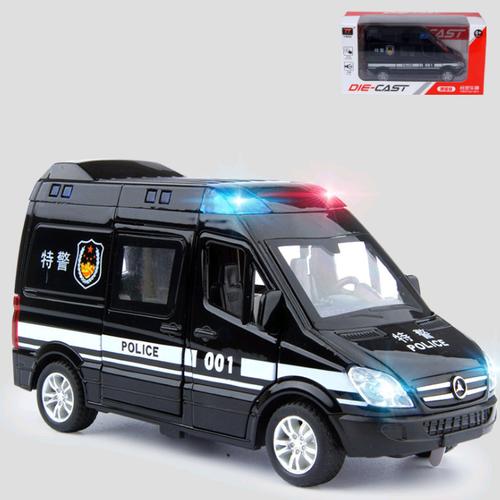 Ô tô cảnh sát màu đen đồ chơi trẻ em bằng sắt có âm thanh và đèn mở các cửa