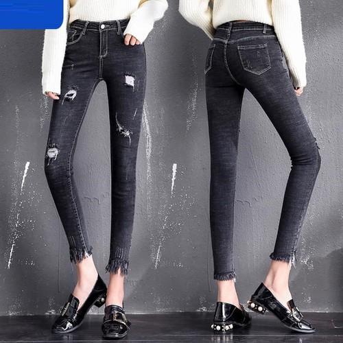Y8895 - quần jean nữ ôm co giãn cạp cao hàng nhập