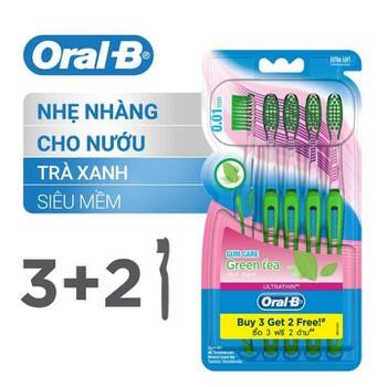 [Mua 3 Tặng 2] Vỉ 5 Bàn Chải Đánh Răng Oral-B Tinh Chất Trà Xanh