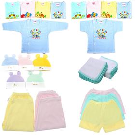 Quần áo sơ sinh -Combo 30 món sơ sinh( 5 ÁO NGẮN 5 ÁO DÀI 5 QUẦN 10 KHĂN SỮA VÀ 5 NÓN) - 30quanaososinh