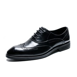 Giày tây nam thắt dây Brogue Oxford Short Wing đen