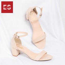 Giày Nữ, Giày Cao Gót Vuông Block Heels Erosska Hở Mũi Quai Mảnh Thời Trang Cao 5 Phân EB004 Màu Đen-Kem - GEB004