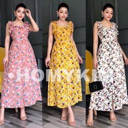 [SIÊU SALE] Đầm xòe vải lụa hoa size M, L 40-60kg thiết kế cao cấp tay cánh tiên