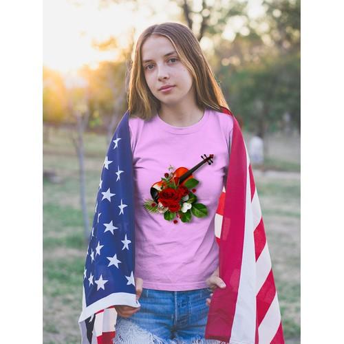 Áo thun nữ in hình cây vĩ cầm và hoa hồng cotton thun phong cách dễ thương cá tính