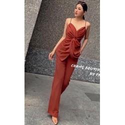 [SIÊU SALE] Set áo và quần dài vải đũi  size S, M 40-53kg thiết kế
