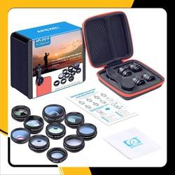 Bộ ống kính,lens chụp ảnh apexel dành cho điện thoại 10 in 1 APEXEL APL-DG10 - Ống kính góc rộng, fisheye, tele, macro