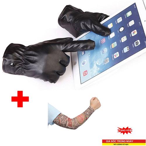 Combo 4 găng tay da tặng kèm găng tay giả xăm găng tay da găng tay da lót nỉ găng tay da cảm ứng găng tay giữ ấm siêu dày dặn qtvrg001