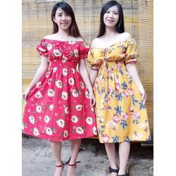 [SIÊU SALE] Đầm xòe vải lụa hoa size M, L, XL, bẹt vai 40-70kg eo thun thiết kế cao cấp