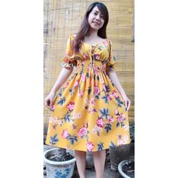 [SIÊU SALE] Đầm xòe vải lụa hoa  size M, L, XL,2XL bẹt vai 40-78kg eo thun thiết kế cao cấp