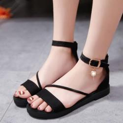 (Bảo hành 12 tháng) Giày Sandal nữ đế bệt quai chéo - Sandal nữ da nhung mềm mịn - Giày nữ đế bằng - Dép quai hậu nữ - Linus LN1809