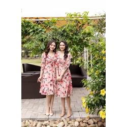 [SIÊU SALE] Đầm xòe vải lụa dún ngực màu hồng, trắng 43-60kg  tay lửng thiết kế cao cấp