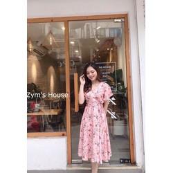 [SIÊU SALE] Đầm xòe vải lụa thắt dây eo màu hồng, vàng size L , 45-60kg thiết kế cao cấp