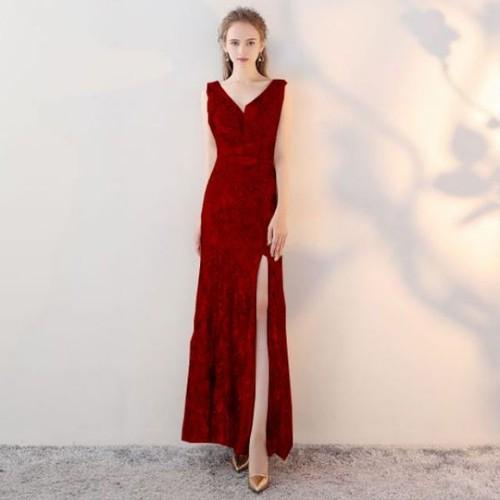 Đầm dạ hội kim sa xẻ đùi cao cấp