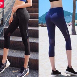 Quần lửng thể thao nữ lưới sau tập gym tôn dáng thiết kế trẻ trung sành điệu, quần áo tập yoga giá rẻ tphcm-CR015