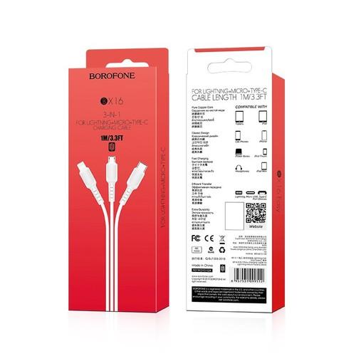 Cáp sạc 3in1 borofone bx16 chính hãng - 18129729 , 22760692 , 15_22760692 , 49000 , Cap-sac-3in1-borofone-bx16-chinh-hang-15_22760692 , sendo.vn , Cáp sạc 3in1 borofone bx16 chính hãng