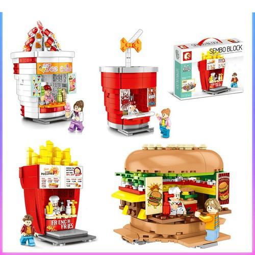 Bộ xếp hình các mẫu cửa hàng bán đồ ăn nhanh được thiết kế vô cùng độc đáo sembo 601055 601056 601057 601058