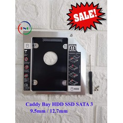Caddy Bay HDD SSD SATA 3 9.5mm, 12.7mm - Khay Ổ Cứng Thứ 2 cho Laptop, CHẤT LIỆU FULL NHÔM