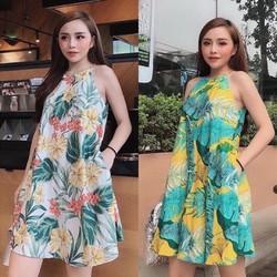[SIÊU SALE] Đầm suông cổ yếm Vải đũi tơ 40-60kg Thiết kếcao cấp
