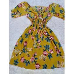 Đầm xòe vải lụa hoa hồng M L XL 2XL bẹt vai eo thun 40_78kg thiết kế