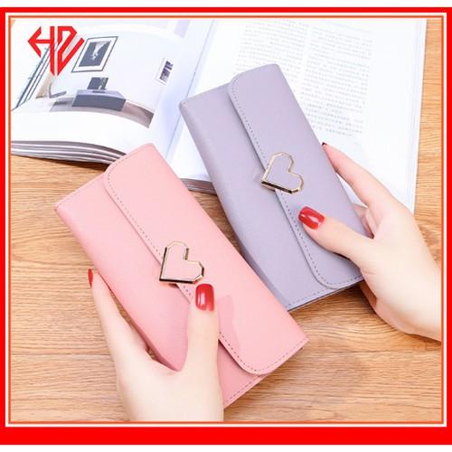 Siêu sale cực đẹp bóp ví dài nữ cầm tay khóa trái tim cách điệu cực đẹp