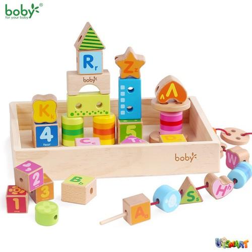 Đồ chơi gỗ chính hãng- Bộ xâu hạt, xếp hình lâu đài Montessori Boby