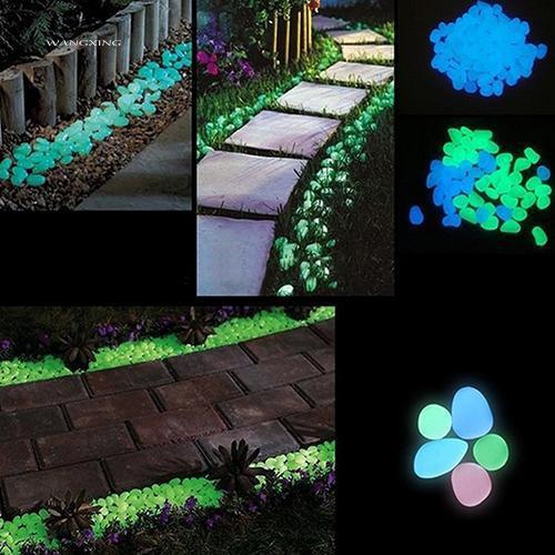 Set 10 viên đá dạ quang trang trí sân vườn 4 bên