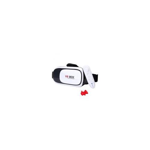 Kính thực tế ảo vr box phiên bản 2 trắng và tay cầm chơi game tặng 1 giá đỡ điện thoại hình con heo