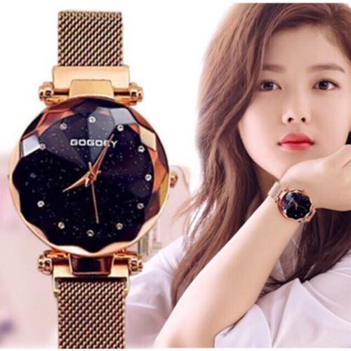 Tặng hộp + pin đồng hồ - đồng hồ thời trang nữ gogoey dây lưới khóa nam châm l1206