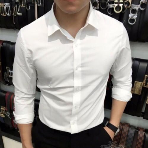 Áo sơ mi trắng nam vải lụa thái chống nhăn hàng xuất khẩu giá rẻ