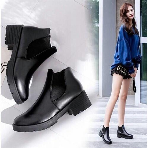 Giày boot nữ hàn quốc - bốt da nữ cổ lửng kiểu mới [được kiểm hàng trước khi thanh toán]