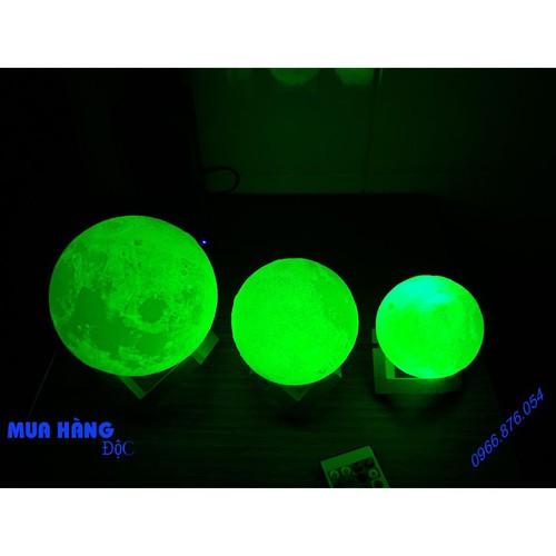 Đèn ngủ mặt trăng 3d 16 màu điều khiển từ xa size 12cm tặng kèm đế gỗ móc treo