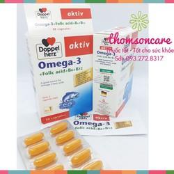 Viên bổ sung Omega 3 DHA Acid Folic| Tốt cho tim mạch |Chính hãng Doppel Herz Aktiv nhập khẩu từ Đức