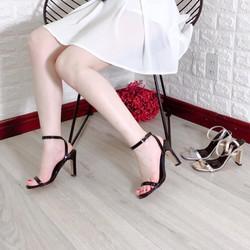 Sale 50 Giày cao gót I Sandal cao gót quai ngang tron gót dẹt 9p hot hit nhã nhặn sang trọng