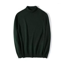 Áo len nam cổ cao màu xanh rêu