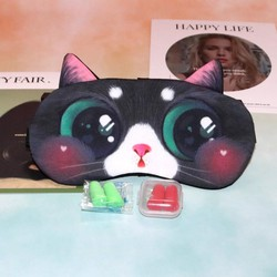 Miếng bịt mắt ngủ 3D có túi gel làm mát mắt hình chú mèo đáng yêu đi kèm 2 cặp nút tai giảm tiếng ồn MBM44