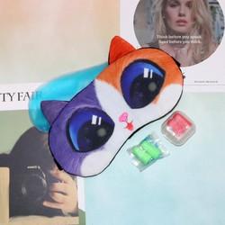 Miếng bịt mắt ngủ 3D có túi gel làm mát mắt hình mèo màu sắc nổi bật đi kèm 2 cặp nút tai giảm tiếng ồn MBM45