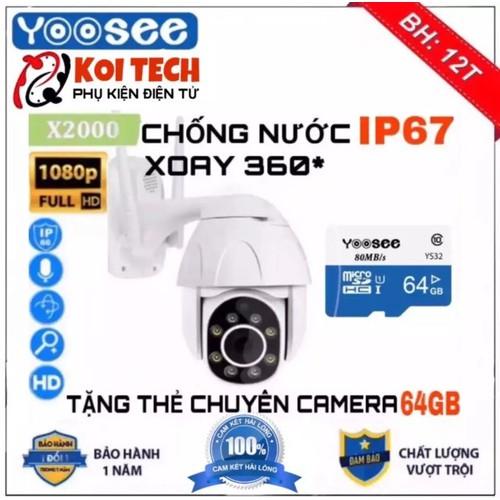 [Tặng thẻ nhớ 64 gb dùng cho camera ]camera yoosee ngoài trời chống nước x2000,xoay 360 độ, 2.0mpx 1920 x 1080p có màu ban đêm,đàm thoại 2 chiều, ghi âm, xem lại video đã lưu trên điện thoại
