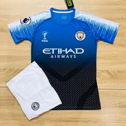 Quần áo bóng đá thể thao Mancity xanh đậm mới 2019-2020