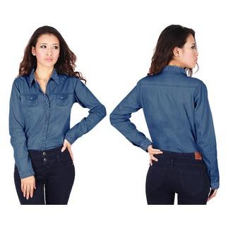 Áo sơ mi jean tay dài phối bi xinh xắn - A247 thumbnail
