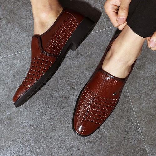 Giày da nam - giày lười thoáng lỗ