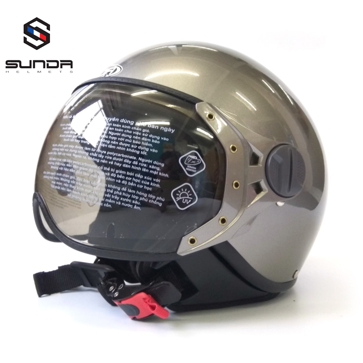 Mũ bảo hiểm ¾ Sunda 103D size nhỏ - Sunda 103D - xám bóng