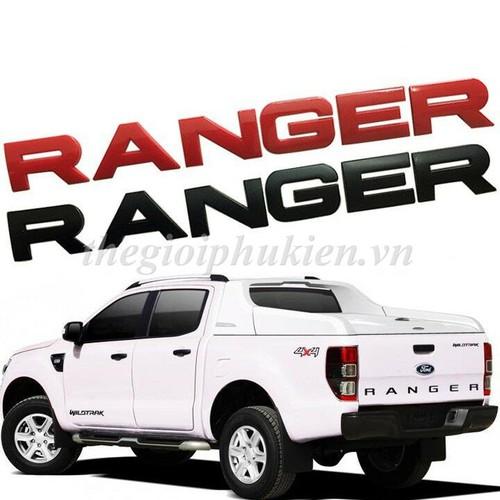 Logo chữ ranger 3d nổi dán trang trí xe ford ranger